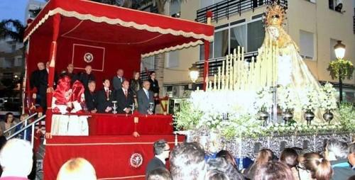 Tribuna de Semana Santa en la avenida de Andalucía de Almuñécar