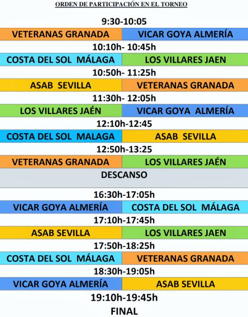 Horarios I Torneo Balonmano Veteranas Granada de Almuñécar
