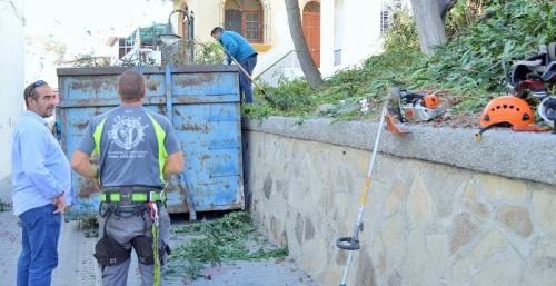 Trabajos de limpieza, poda y desbroce en la ladera de la bajada a la plaza del Lavadero en La Caleta.jpg