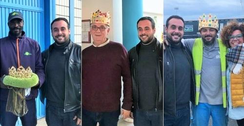 José Pérez, Santiago de la O Alonso y Lancei Konate, Reyes Magos de Oriente en Salobreña.jpg
