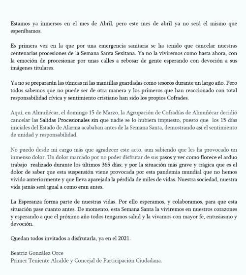 Carta Semana Santa Beatriz González Orce