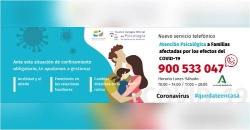 Los Colegios de Psicología de Andalucía y la Junta ponen en marcha un teléfono de apoyo psicológico a las familias