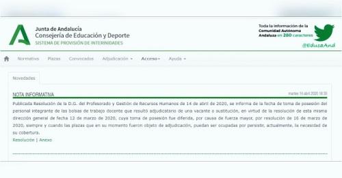 Reanudación inmediata de las convocatorias para suplir bajas y vacantes docentes en Andalucía