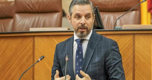 Juan Bravo interviene desde la tribuna en un momento de su intervención ante el Pleno del Parlamento andaluz