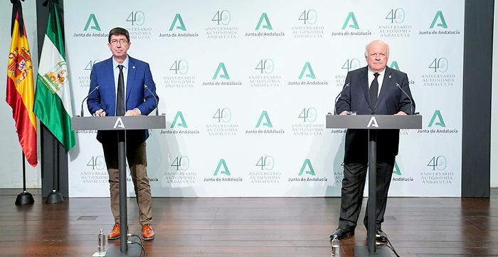 Juan Marín y Jesús Aguirre durante la comparecencia tras la reunión del gabinete de crisis
