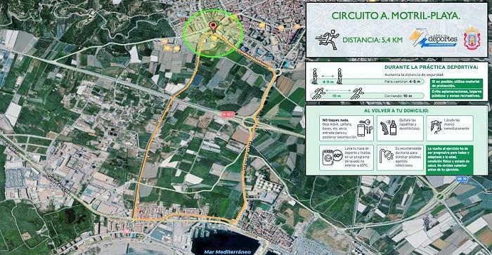 Motril pone a disposición de los vecinos tres circuitos seguros y saludables para la práctica del deporte